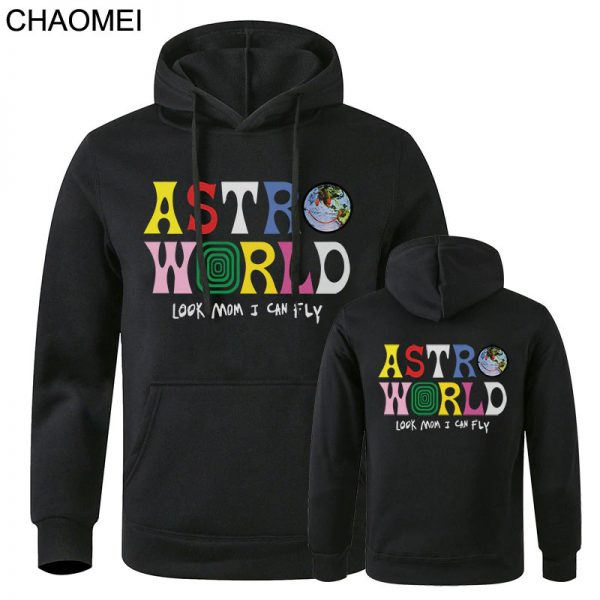 New Astroworld Casual Multicolor Pullover Black Hoodie