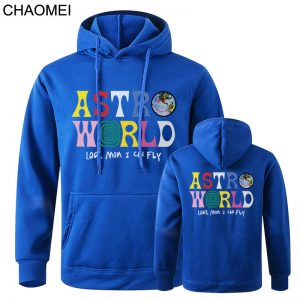 New Astroworld Casual Multicolor Pullover Blue Hoodie