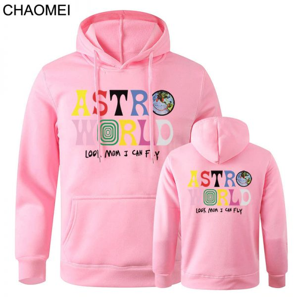 New Astroworld Casual Multicolor Pullover Pink Hoodie