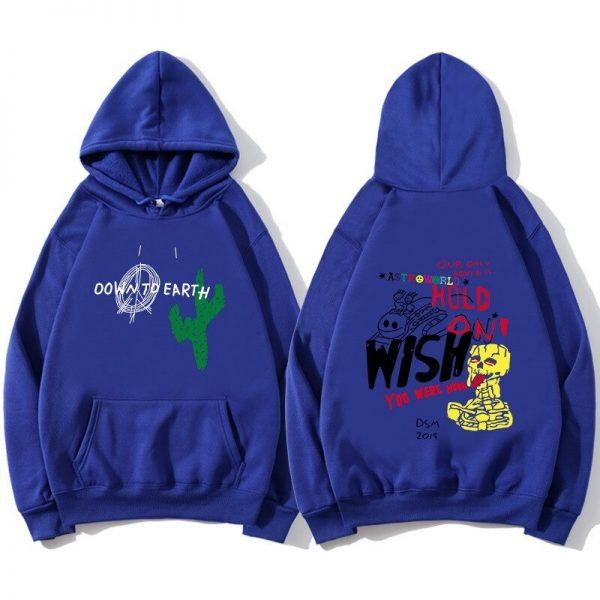 Astroworld Cactus Graffiti Men's Blue Pullover Hoodie