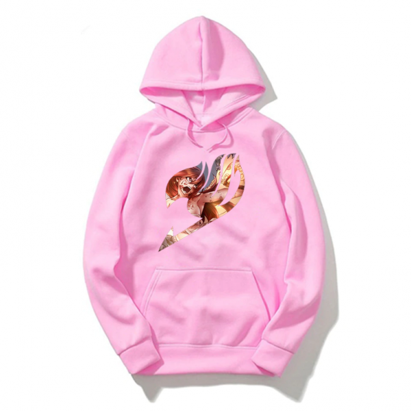 Fairy Tail Anime Casual Pullover Pink Hoodie Men