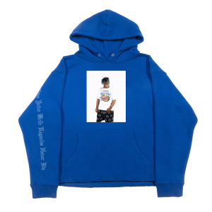 Juice WRLD X Revenge Photo Blue Hoodie (Front)