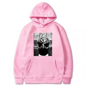 Men's Tupac Casual Pullover Pink Hoodie