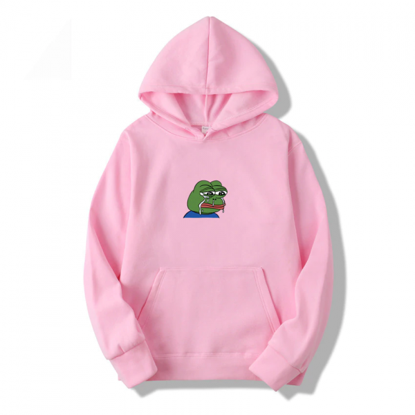 Sad Frog Casual Pullover Pink Hoodie Men