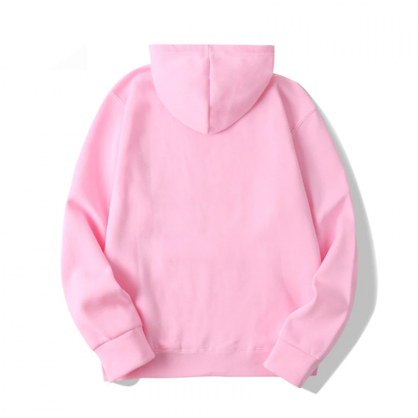 Sad Frog Casual Pullover Pink Hoodie Men (Back)