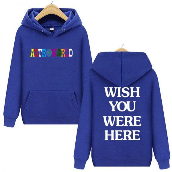 Travis Scott Astroworld WISH YOU WERE HERE Blue Pullover Hoodie
