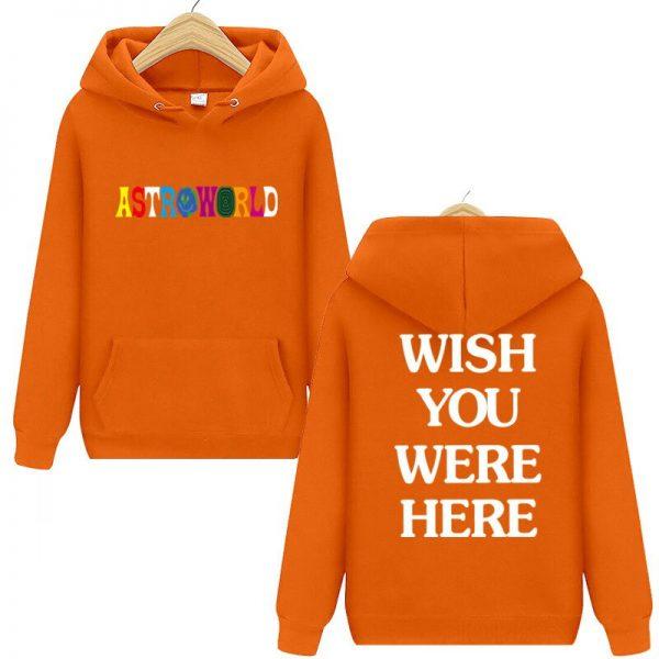 Travis Scott Astroworld WISH YOU WERE HERE Orange Pullover Hoodie