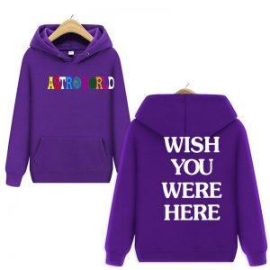 Travis Scott Astroworld WISH YOU WERE HERE Purple Pullover Hoodie