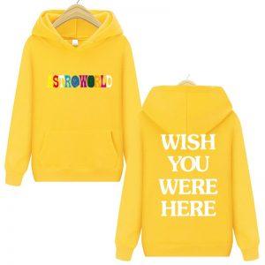 Travis Scott Astroworld WISH YOU WERE HERE Yellow Pullover Hoodie
