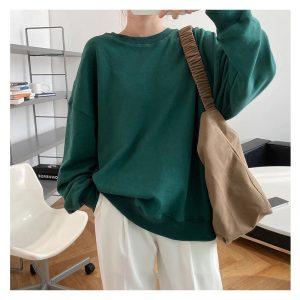 Green O Neck Fashion Hoodie for Women