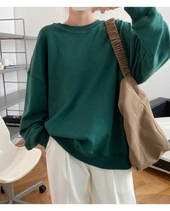 Winter Style Women O-neck Casual Pullover Green Hoodie(front)