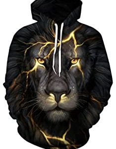 KingLemon Men's Hooded Patterns Print Sweatshirts Pocket Pullover 3D Hoodie