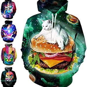 TUONROAD 3D Graphic Hoodies Sweaters with Fleece Realistic Sweatshirts Pullover for Men Women