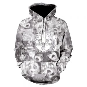 Ahegao Sweaty Face 3D Printed Gray Casual Hoodie (Front)