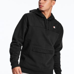C Logo Urban Fleece Casual Champion Black Hoodie (Front)