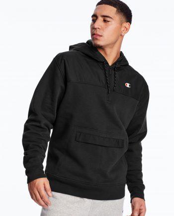 C Logo Urban Fleece Casual Champion Black Hoodie (Front)