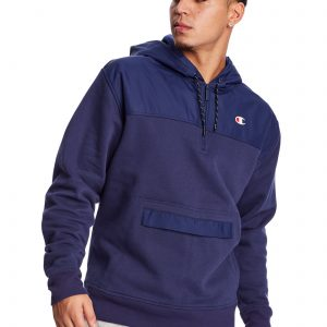 C Logo Urban Fleece Casual Champion Blue Hoodie (Front)