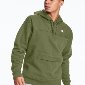 C Logo Urban Fleece Casual Champion Cargo Olive Hoodie (Front)