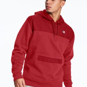 C Logo Urban Fleece Casual Champion Red Hoodie (Front)