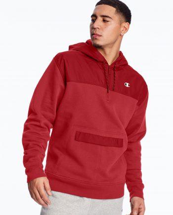C Logo Urban Fleece Champion Red Hoodie (Front)