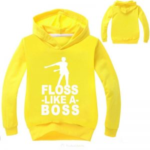 Floss Likes a Boss Yellow Hoodie Dabbing Kids boy Hoodie Front and back