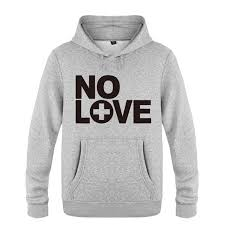 Eminem No Love Rock Rap Fleece Pullover Gray Hoodie