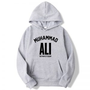 Muhammad Ali Printing Blended Cotton Gray Hoodie