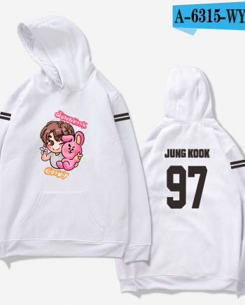 Jungkook Cooky 97 BTS Unisex Cotton Hoodie (White)