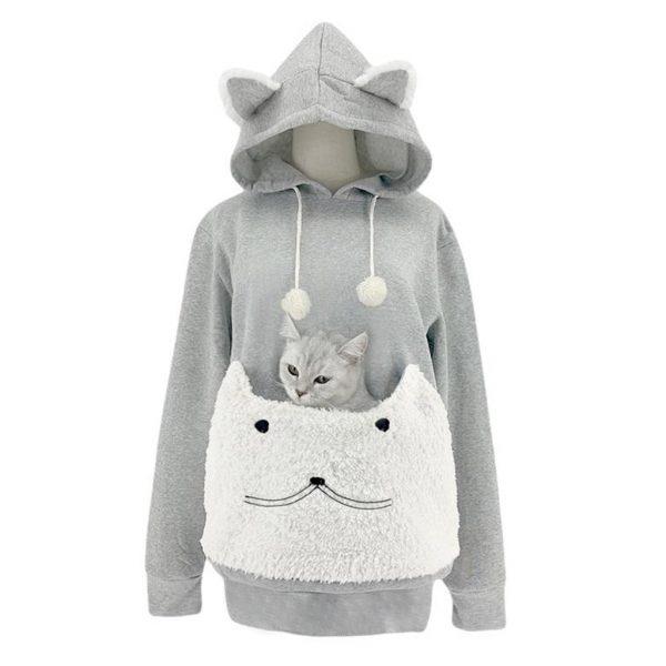 New Winter Cat Pouch Women Hoodie