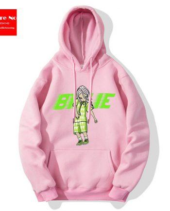Billie Eilis Cartoon Bild Text Hoodie (Pink)