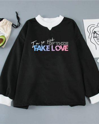BTS Fake Love Unisex Pullover Cotton Hoodie ( Black )