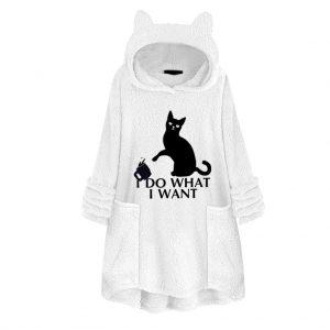 Cat Ear Long Printed Women White Hoodie