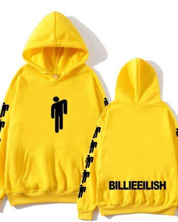 Billie Eilish Blohsh Printed Cotton Hoodie ( Yellow )