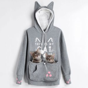 New Arrival Cat Pouch Women Gray Hoodie