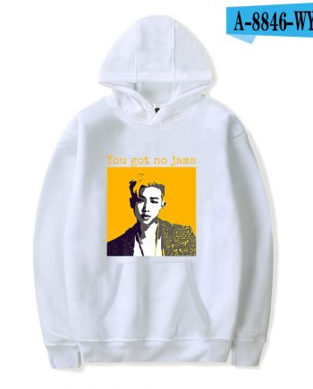 'You Got No Jams' Printed Cotton Pullover BTS Hoodie (White)