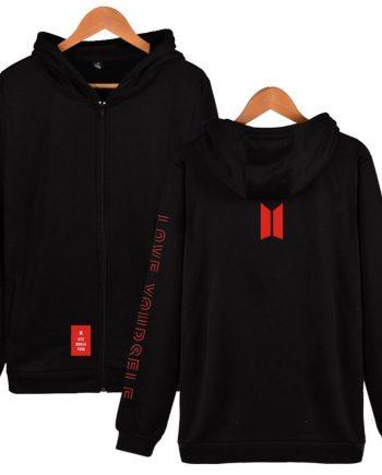 BTS Love Yourself Zipper Unisex Cotton Hoodie ( Black )