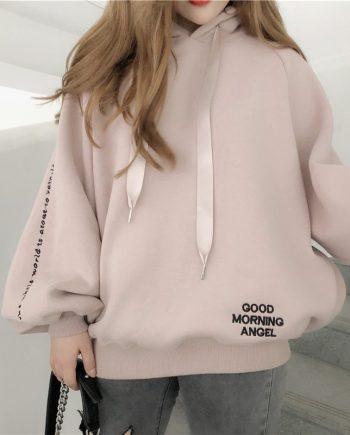 Bubble Sleeves Style Fleece Lined Women Hoodie