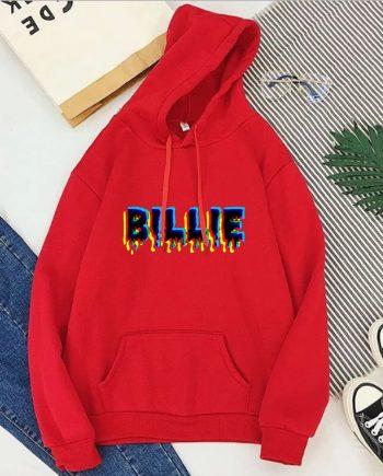Billie Eilish Text Billie Hoodie (Red)