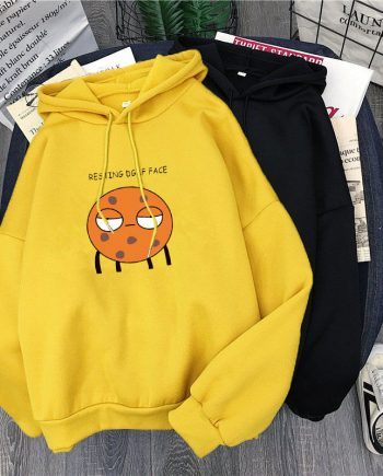 New Fashion Loose Fleece Lined Thickened Pullover Yellow Hoodie