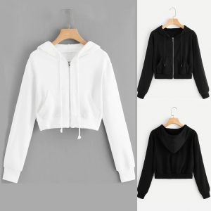 Women Cropped ZIP UP Hoodie in Black/White