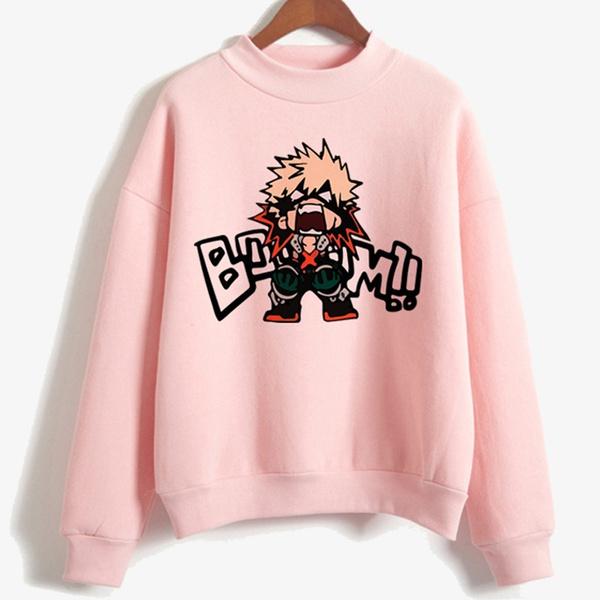 My Hero Academia Katsuki Bakugo Long Sleeve Hoodie pink Sweatshirts