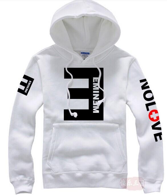 Eminem Printed Thicken Pullover Sportswear White Hoodie
