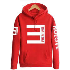 Eminem Printed Thicken Pullover Sportswear Red Hoodie