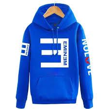 Eminem Printed Thicken Pullover Sportswear Blue Hoodie