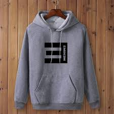 Eminem Printed Thicken Pullover Sportswear Gray Hoodie