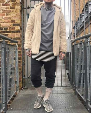 Kanye West Men Hip Hop Fleece Sherpa Hoodie
