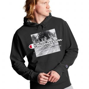 Powerblend Finish Line Fleece Black Champion Hoodie (Front)