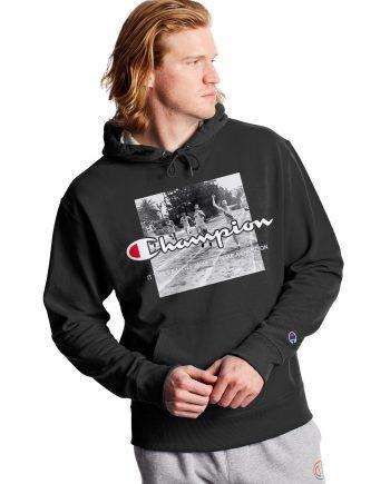 Powerblend Finish Line Fleece Black Champion Hoodie (Front)