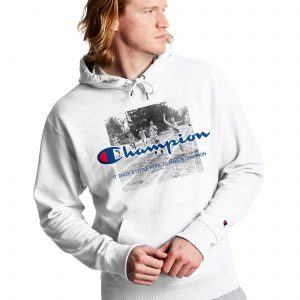 Powerblend Finish Line Fleece White Champion Hoodie (Front)