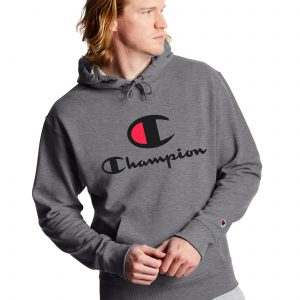 Powerblend Fleece Casual Champion Logo Graphite Heather Hoodie (Front)